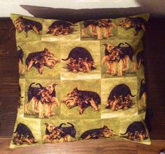 Cushion, Airedale Puppies playing, printed on to soft cotton canvas.
