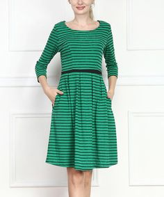 Love this Green Stripe Fit & Flare Dress by Reborn Collection on #zulily! #zulilyfinds