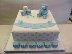 Teddy in Blue Christening Cake
