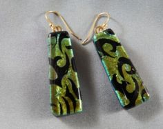 earrings in dichroic black, green, gold, fused glass