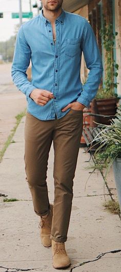 Blue Shirt With Khaki Chinos for Men