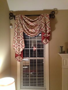 Gorgeous fabric for traditional pole swag and jabots by Window Works Studio in Jamestown, NC WindowWorksStudio.com