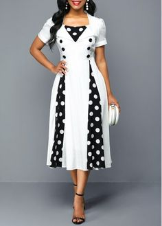 Button Detail Polka Dot Print High Waist Dress Women Clothes For Cheap, Collections, Styles Perfectly Fit You, Never Miss It! Latest African Fashion Dresses, Women's Fashion Dresses, Sexy Dresses, Casual Dresses, Short Sleeve Dresses, Dresses With Sleeves, Fall Dresses, Cheap Dresses, Elegant Dresses
