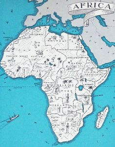 Africa - Vintage Map of Africa - A Fun and Funky Little Vintage Picture Map to Frame available at StoriesDivinations on Etsy Stories and Divinations Vintage Maps, Antique Maps, Tanzania, Les Continents, Maputo, World Geography, Out Of Africa, African Countries, Map Design