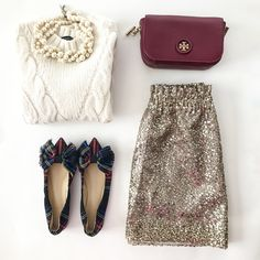 plaid bow flats sequin skirt cable knit sweater