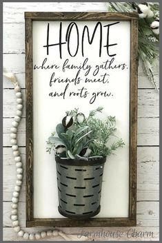 Home Where Family Gathers Galvanized Vase Sign, Vase Sign, Farmhouse Sign, Farmhouse Decor, Home Sign, Cotton Stem Sign, Gallery Wall Sign #wood #woodsigns #afflink #galvanized #metal #family #roots #rustic #rusticdecor #farmhouse #farmousestyle #decor