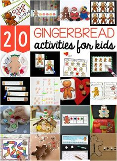 20 awesome gingerbread activities for kids. Math games, ABC activities, craft projects, sight word games… so many ideas for a gingerbread unit with preschool and kindergarten kids this winter or holiday season! Love all the gingerbread freebies! Christmas Math, Preschool Christmas, Christmas Activities, Christmas Ideas, Christmas Crafts, Winter Activities, Preschool Winter, Christmas Collage, Christmas Things