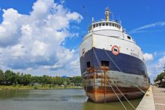 Algosteel Great Lakes freighter ship docked at Owen Sound, Ontario.