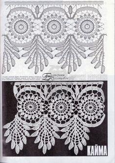 23 Ideas for puntillas crochet patrones ganchillo Crochet Diy, Crochet Motifs, Crochet Borders, Crochet Chart, Crochet Home, Crochet Blanket Patterns, Filet Crochet, Irish Crochet, Crochet Stitches
