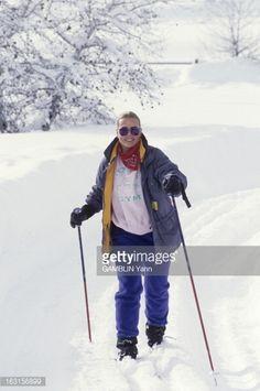 Aux Etats unis, en Idaho, en janvier 1993, l'actrice Margaux HEMINGWAY,debout dans la neige faisant du ski de fond.