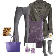 Gray and purple by stefani-nelson on Polyvore