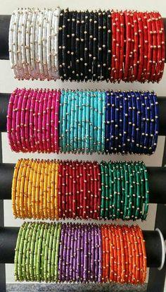 Set of 12 petite metal bangles wrapped in silk thread Silk Thread Bangles Design, Silk Thread Necklace, Silk Bangles, Bridal Bangles, Thread Jewellery, Indian Bangles, Fancy Jewellery, Fashion Jewellery, Bangle Set