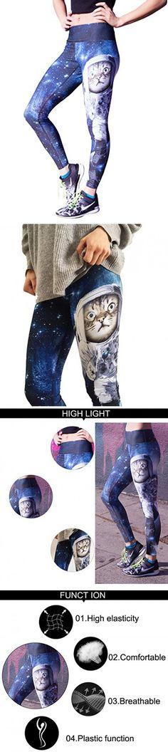 UPRIVER GALLERY Women's 3D Space Cat Printed Yoga Fitness Workout Leggings Fashion Capri Pants M