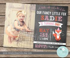 FOX Birthday Party First Birthday Invitation by littlebirdieprints, $16.50