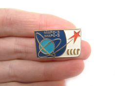 Cosmos badge Soviet Pin Mars-2 and Mars-3 Vintage Badges Space Theme USSR Collectible Enamel pin Rus