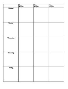 printable lesson plan pages
