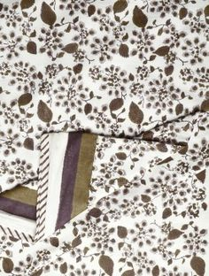 INDIAN AUGUST  Floral Block Printed Cotton Duvet Cover - 90in x 60in