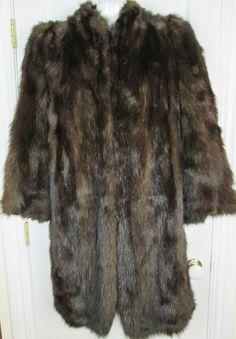 "Vintage Dark Mink Knee Length 40"" Coat Fully Lined Pockets Jacket Size Medium #Unbranded #BasicCoat #CasualBusiness"