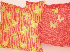 "Applique Butterfly Pillow Covers Pink Fushia Lime Orange Stripes Flowers Custom Cushion Throw Girls Bed Kids Decorative 18"" Set. $28.00, via Etsy."