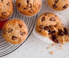 Banana & Choc Chip Muffins: Scrumptious treats which combine the goodness of banana and joy of chocolate. http://www.bakers-corner.co.nz/recipes/muffins/banana-choc-chip-muffins/