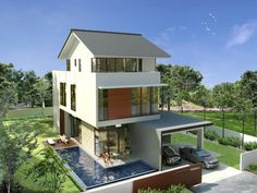 Contemporary Bungalow Design Ideas in the Green Area with Outdoor Swimmingpool Modern Bungalow House Design, Bungalow Interiors, Bungalow Designs, Modern Design, Bungalow Floor Plans, Modern House Floor Plans, Bungalow Landscaping, Bungalow Extensions, House Design Photos