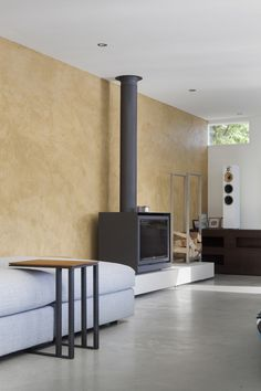 Floating Amsterdam home fireplace in living area Home Fireplace, Pump House, Interior Deco, House, Freestanding Fireplace, Interior Architecture, Home, Floating House, Amsterdam Living