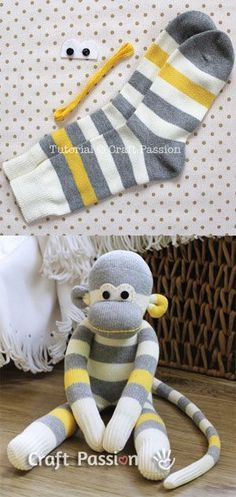 Sock monkey tutorial . I would love to attempt this for a homemade baby shower gift. Adorable !