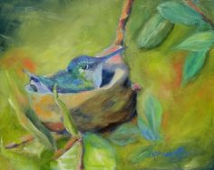 """Elizabeth's Hummingbird"" by Chris Brandley. Oil on Board. Please visit my website: www.BrandleyGallery.com"