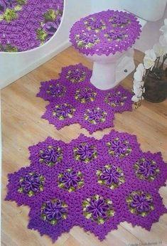 Lindos jogos de banheiro em crochê