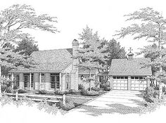 Plan W8749GM: Cottage, Ranch, Country, Narrow Lot, Southern House Plans & Home Designs-Perfect for the Lake!!!!!!