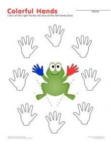 Susan Paradis: Free Worksheet to Help Children Learn Their Left and Right Hands.