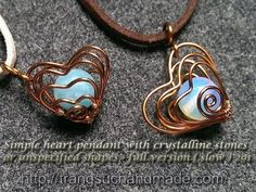 Simple heart pendant with crystalline stones or unspecified shapes - full version (slow) 291 - YouTube