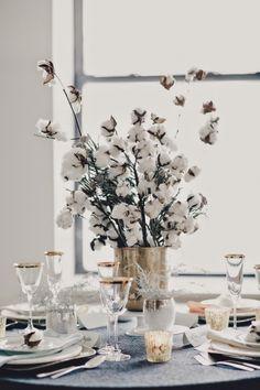 Matrimonio invernale con fiori di cotone