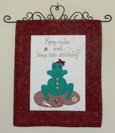 The Leap Frog wall hanging says it all! Easy applique and simple stitching combine to create a quickly achievable wall hanging.  Val Laird Designs