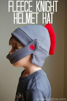 Fleece Knight Helmet Hat with tutorial and free pattern! via http://www.wineandglue.com #fleece #pattern