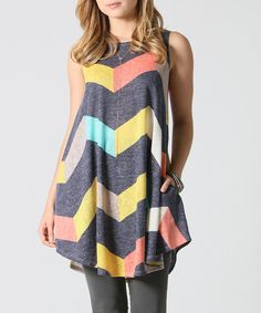 728ab5bad1037 Another great find on  zulily! 42POPS Navy Zigzag Pocket Swing Top - Plus by