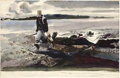 Coot Hunter, Andrew Wyeth. Watercolor on off-white wove paper AIC