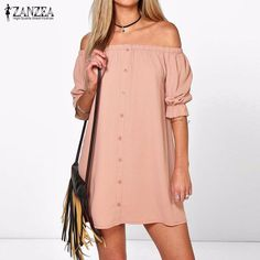 Vestidos 2017 ZANZEA Women Sexy Off Shoulder Mini Party Dress Casual Loose Half Sleeve Strapless Dresses Plus Size Long Tops $15.28