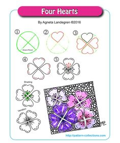 Four Hearts Tangle, Zentangle Pattern by Agenta Landegren Zentangle Drawings, Doodles Zentangles, Doodle Drawings, Easy Drawings, Doodle Art, Zen Doodle, Doodle Designs, Doodle Patterns, Zentangle Patterns