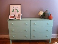 DIYing all day! Our associate editor took a regular IKEA dresser and painted it a minty green color.