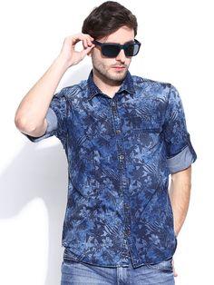 Printed denim shirt Denim Shirt Men, Men's Denim, Man Shirt, Stylish Men, Men Casual, Beard Lover, Printed Denim, Denim Style, Hair And Beard Styles