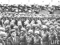 3rd Armored Division reviewed by President John F. Kennedy (R) w. Major General John R. Pugh (L).Germany June 1963  ❤❁❤❁❤❁❤❁❤❁❤ http://www.jfklibrary.org/Asset-Viewer/Archives/JFKPOF-117-015.aspx  http://en.wikipedia.org/wiki/Ich_bin_ein_Berliner   http://en.wikipedia.org/wiki/John_F._Kennedy  http://www.nps.gov/nr/travel/presidents/john_f_kennedy_birthplace.html