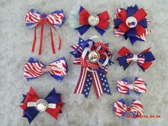 Cute red,white,and blue hair bows just in time for memorial day or the 4th of July! Check them out at BarbsQuiltsAndGoodie.etsy.com