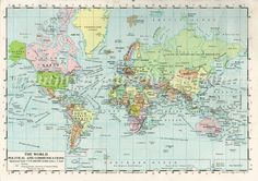 Vintage map of the WORLD  original vintage by VintageInclination
