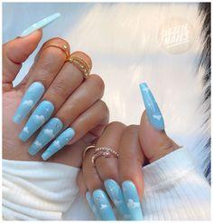 Blue Gel Nails, Baby Blue Nails, Blue Coffin Nails, Sky Nails, Acrylic Nails Coffin Short, Blue Acrylic Nails, Fire Nails, Summer Acrylic Nails, Blue Nails Art