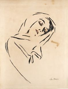 View Portrait De Femme Au Foulard By Kees Van Dongen; Ink and watercolor on paper; Access more artwork lots and estimated & realized auction prices on MutualArt. Drawing Sketches, Art Drawings, Art Blanc, Van Gogh Museum, Dutch Painters, Painting People, Dutch Artists, Oeuvre D'art, Artwork