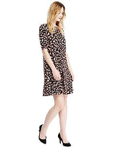 Orange Mix Animal Print Swing Fit & Flare Dress