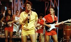 George Michael and Andrew Ridgeley in Wham!, on TV Series The Tube in the 1980s.