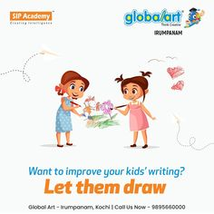 Drawing and writing support each other. Children who draw before they tackle writing tasks produce better writing. It is likely this is because the act of drawing concentrates the mind on the topic at hand, and provides an avenue for rehearsal before writing. So let kids draw. Join Globalart Irumpanam now. Limited Seats Only. Call us for more details: 98956 60000 #Globalart #Kochi #Irumpanam #Art #Creativity #Drawing #Imagination Better Writing, Cool Writing, Kids Writing, Kochi, Global Art, Drawing For Kids, Imagination, Improve Yourself, Creativity
