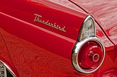 Ford Thunderbird - Vintage Car - Photograph - Automobile - Front - Red - 1950s - 6X9 - Tail Light - Man Cave - Fine Art Photography via Etsy